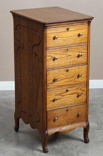 Antique five-drawer Music Stand, circa 1910, fancy quarter sawn oak case with original brass hardwar