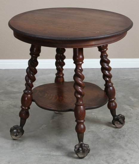 Fancy antique, quarter sawn oak, round Lamp Table, circa 1910, with large Tiffany style, glass ball