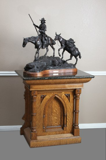 "Ornate antique oak Bronze Pedestal with custom polished granite top, circa 1915, top measures 36"" W"
