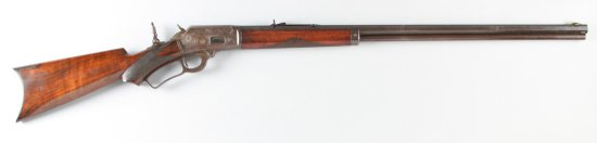 Antique, factory engraved Marlin, Model 1893, Lever Action Rifle, .32 W Caliber, SN 146891, manufact