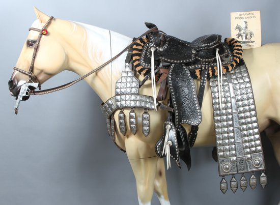 Silver mounted Parade Saddle and Outfit, attributed to Ted Flowers Western Saddle Co.  Heavily toole