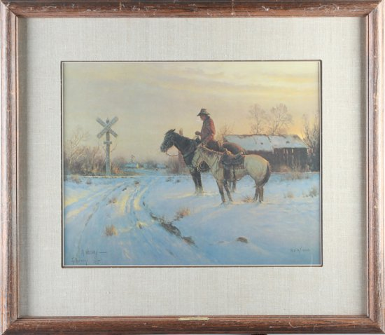An original double signed, framed western Print by noted artist, the late G. Harvey (1933-2017), tit
