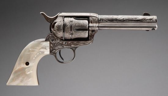 Engraved Colt Single Action Army Revolver with factory letter that states; Serial Number 199096; Cal