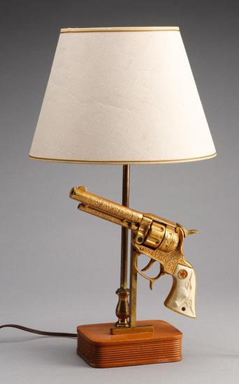 "Unique, vintage Revolver Lamp, marked Ranger, circa 1950s, in excellent original condition, 17 1/2"""