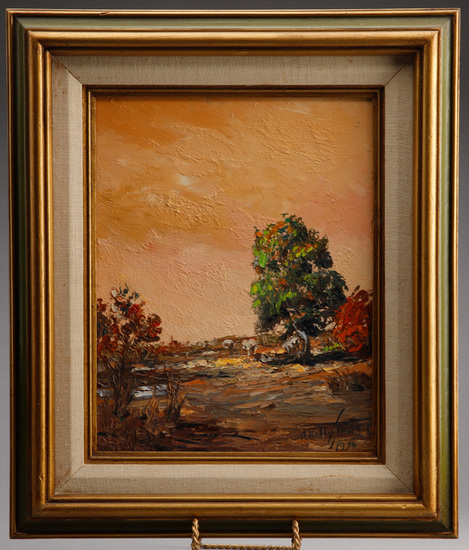 From the late Alva Stem Collection, original oil on board by the late artist A. Kelly Pruitt, (1924-