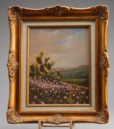 From the late Alva Stem Collection, original oil on canvas by Texas artist Gary Lynn Roberts, signed