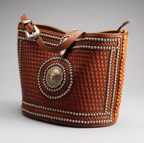 Very scarce and desirable, hand tooled leather Ladies Purse by noted Leathersmith, the late Buddie F
