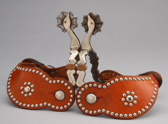 Fancy pair of double mounted goose head Spurs by noted Texas artist Pat Ray Castleberry, mounted wit