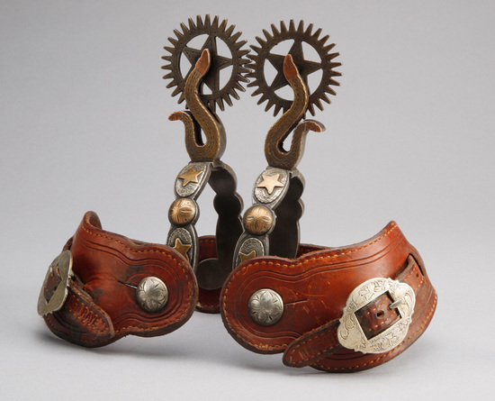 Ornate pair of rattlesnake pattern double mounted Spurs by the late Colorado Bit & Spur maker Jack F