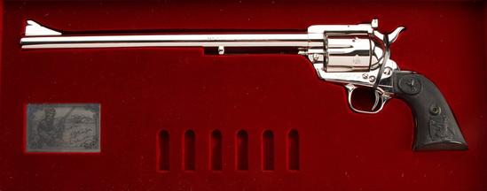 "Cased Colt Buntline Special Single Action Revolver, .45 caliber, SN NB2787, 12"" barrel, factory nick"