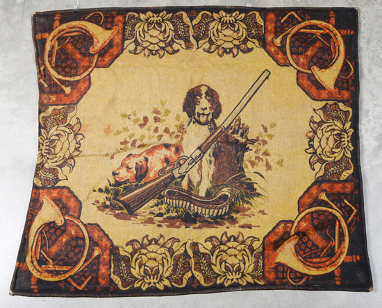 """Unique pictorial Horse Hair Lap / Buggy Robe, circa 1890-1900, 49"""" x 51"""", graphics of hunting dogs w"""