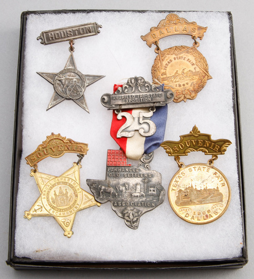 Collection of five Suspension Pin Badges to include: (1) A Five Point Star with bar, marked Houston,