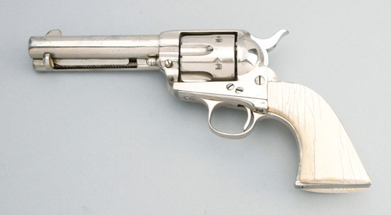 Colt Single Action Army Revolver, .45 caliber, SN 162110, shows heavy buffing, and renickled finish,