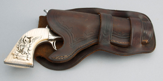 """Oklahoma marked, double loop leather Holster, top loop is stamped """"Oklahoma Leather, Miami, IT"""", lea"""
