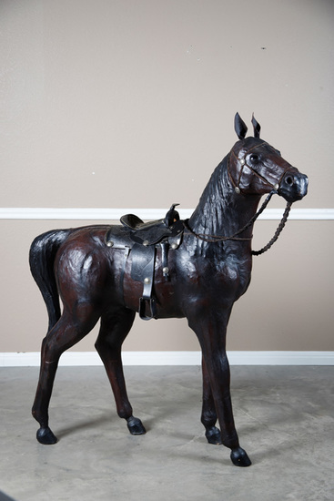 Unique, full bodied, leather wrapped show display Horse complete with saddle, bridle and reins.  Hor
