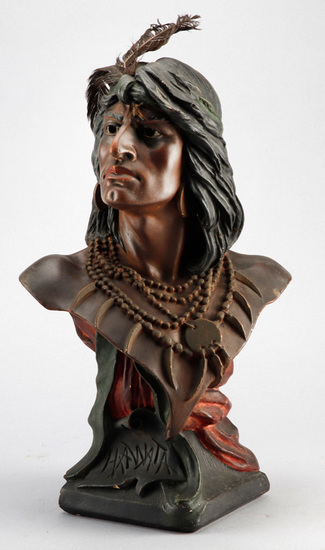 "Antique chalk Saloon / Cigar Store Indian Bust titled ""Hiawatha"", 19 1/2"" T x 12"" W at shoulders, re"