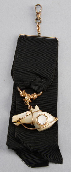 Extremely rare Victorian gold & mother of pearl, horse head Watch Fob, with original black ribbon, 6