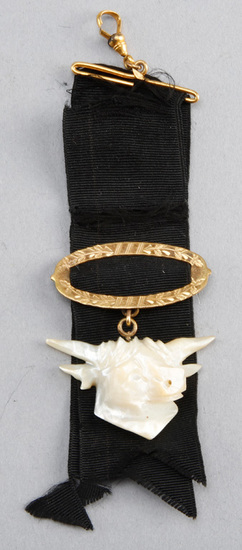 Extremely rare Victorian gold & mother of pearl, steer head Watch Fob, with original black ribbon, 5