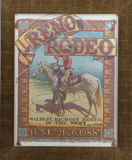 Signed & numbered, Reno Rodeo Poster, custom framed by Milo Marks, #220 of 1000, hand signed lower r