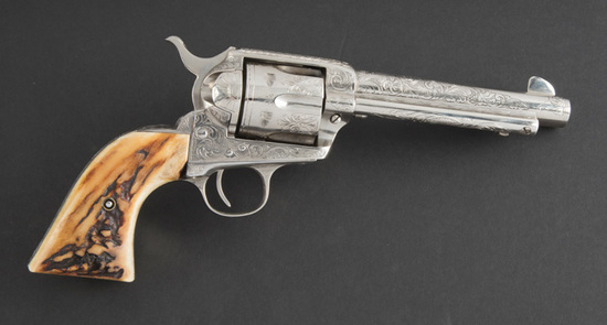 "Factory style, hand engraved Colt SAA Revolver, SN 331822, First Generation, .45 caliber, 5 1/2"" bar"
