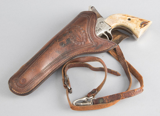 "Vintage leather Holster marked P.A. Wilkerson, Buffalo, WYO.  This Holster is made for a 5 1/2"" sing"