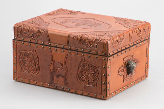 Outstanding Bohlin marked, heavily tooled leather Cigar Humidor, floral tooled with fully tooled Buf