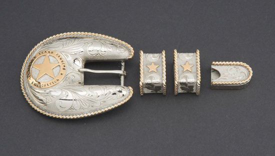 "Beautiful four piece, 3/4"", hand engraved Ranger Buckle Set with rope twist border, includes buckle,"