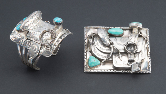 Unique matching set of turquoise and sterling items to include an ornate Saddle Buckle that measures