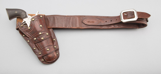 Vintage, R.T. Frazier, Pueblo, Colo. marked, spotted double loop Holster and matching Cartridge Belt