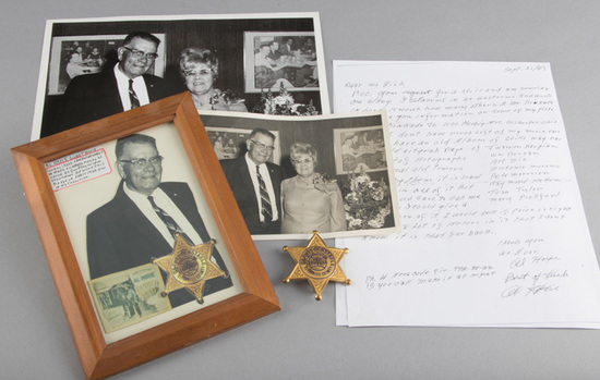 Gold star Badge marked Deputy Constable, Riverside County, West Riverside TWP, A.J. Hoxie, 6 point b