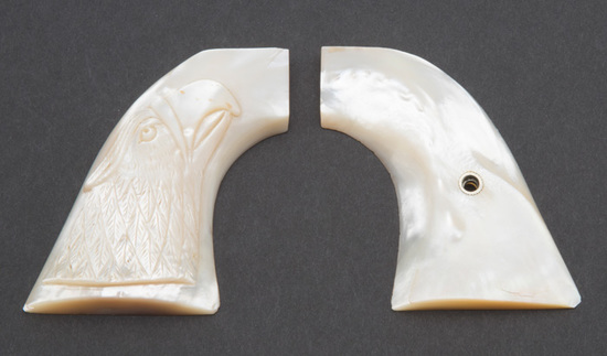 Extremely fine pair of two-piece, raised carved Mother of Pearl Grips for Colt SAA Revolver.  Right