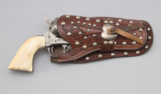 "Vintage, single loop, spotted Holster for a 4 3/4"" Colt Revolver with raised heart concho, light too"