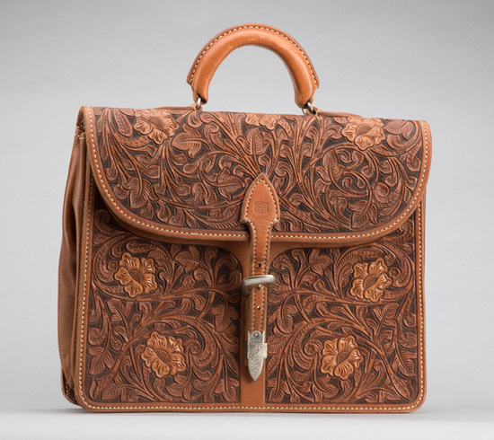 Incredible Bohlin marked, floral tooled Briefcase with Bohlin marked, hand engraved sterling silver