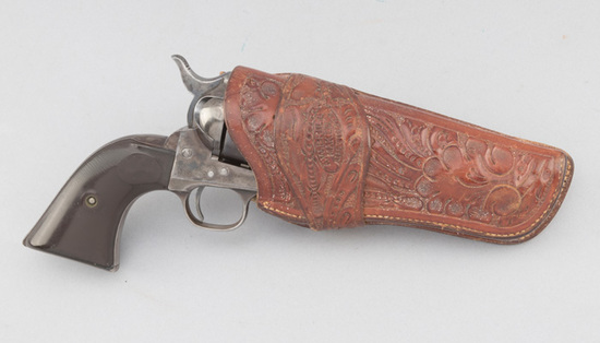 """""""A.W. Brill, Austin, TX."""" marked, beautiful floral tooled Holster for a 4 3/4"""" Colt SAA, in excellen"""