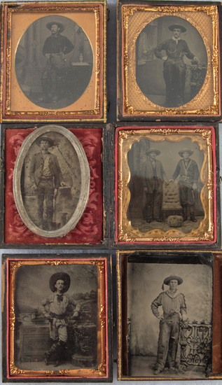 From the George Jackson Photography Collection a group of six early Tintype Images of Cowboys all we
