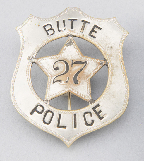 "Butte Police # 27 Badge, shield with 5-point star center, 2 1/2"" T, hallmark ""Pettibone Bros. MFG Co"