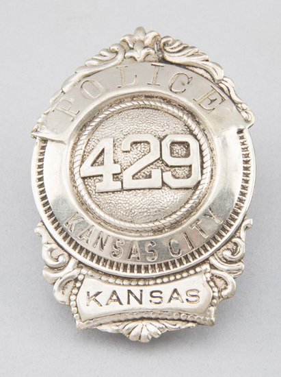 "Police, Kansas City, Kansas, #429 Badge, shield with circle center, 3 1/4"" T.  George Jackson Collec"