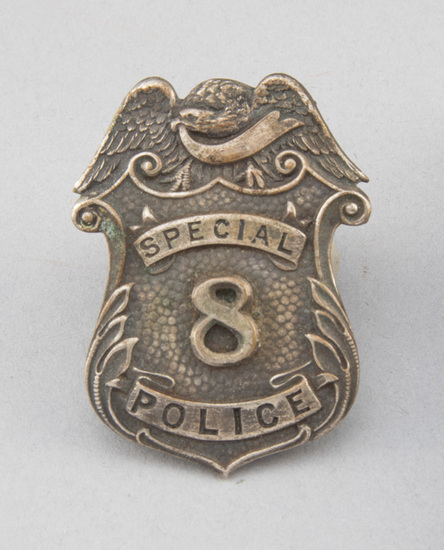 """Special Police, #8 Badge, shield with eagle crest, 2"""" T, ornate.  George Jackson Collection."""