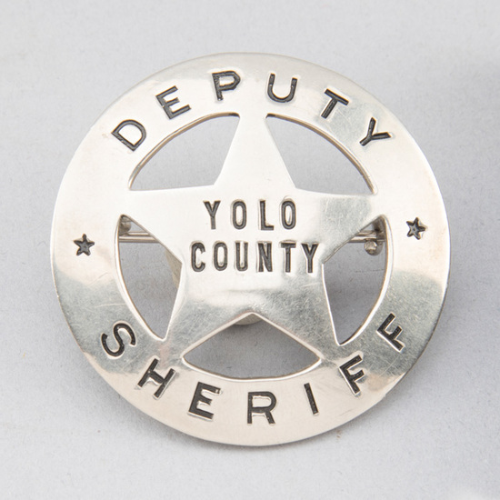 """Deputy Sheriff, Yolo County Badge, circle with cut out 5-point star, 2"""" diameter, hallmark """"Patrick,"""