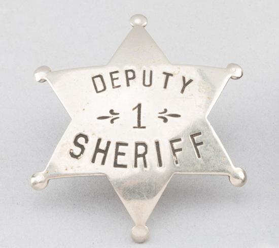 "Deputy Sheriff, #1 Badge, 6-point ball star, 2 1/4"" across points, hallmark ""H.C. ____ner & Co., K.C"