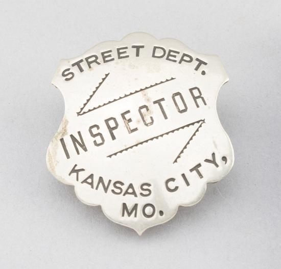 "Street Dept. Inspector, Kansas City, Mo, Badge, shield, 2"" T, hallmark ""Allen Stamp & Seal Co., Kans"