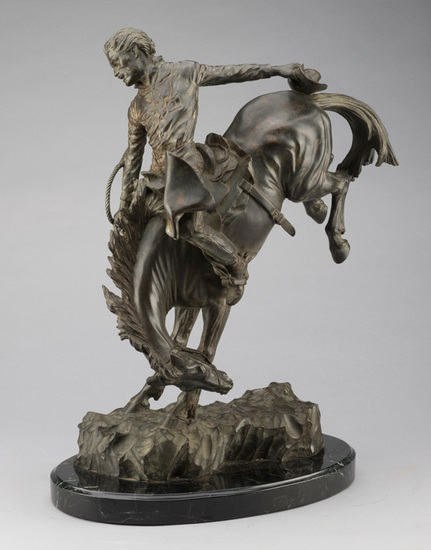 Extremely fine western action Bronze by noted artist Alice Woods, No.1 of 25, dated 1979, produced b