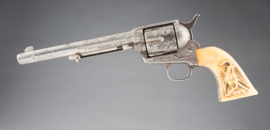 Fantastic, New York engraved, Colt SAA Revolver, .44-40 caliber, SN 51184, etched panel with carved
