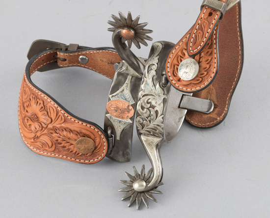 Ornate pair of Clint Martin, double mounted Spurs, #609, beautiful hand engraved silver overlay and