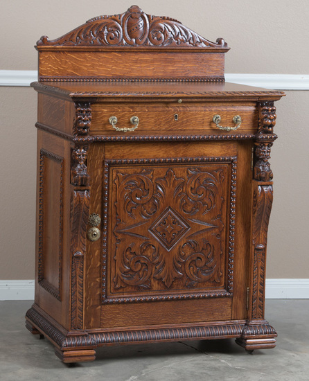 """Heavily carved antique oak Home Bar, circa 1900, attributed to R.J. Horner, 49"""" T x 31 1/2"""" W x 20"""""""