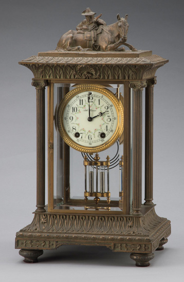 Antique, beveled glass Crystal Clock, manufactured by Seth Thomas, circa 1900, ornate case with Roos