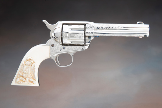Beautiful engraved antique Colt SAA with carved ivory grips, SN 178157 was manufactured in 1898 and
