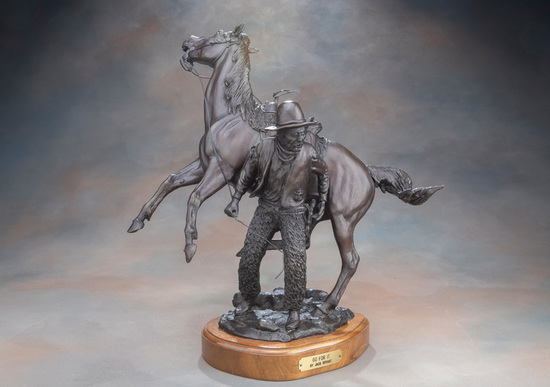 "Western Bronze Sculpture by noted Texas Artist, the late Jack Bryant, titled ""Go For It"", #7 / 20."