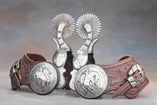 Outstanding pair of double mounted Spurs by noted Texas Bit & Spur Maker Kevin Burns, with raised ha