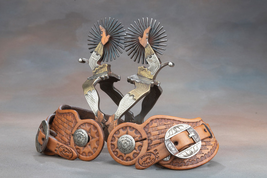 Unique pair of double mounted, double Gal-Leg Spurs by noted Bit and Spur Makers Lytle & Mower, silv